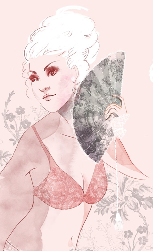 teewee intimates model illustration with bra pink
